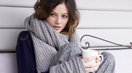 Cozy, chunky, knit scarves... and coffee!