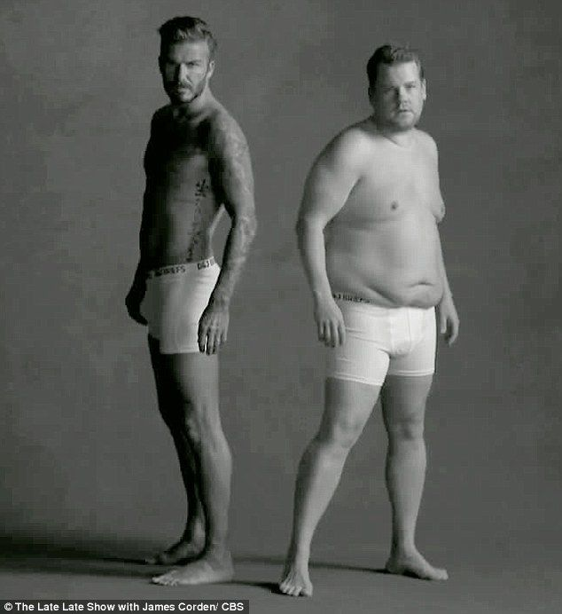 James Corden strips off as he's joined by David Beckham for spoof ad #dailymail