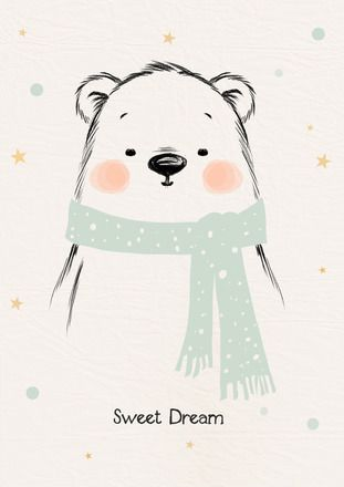 Affiche/Poster/Print * sweet dream. Ours/bear/snow/cut/Déco/Baby/Children/Bedroom