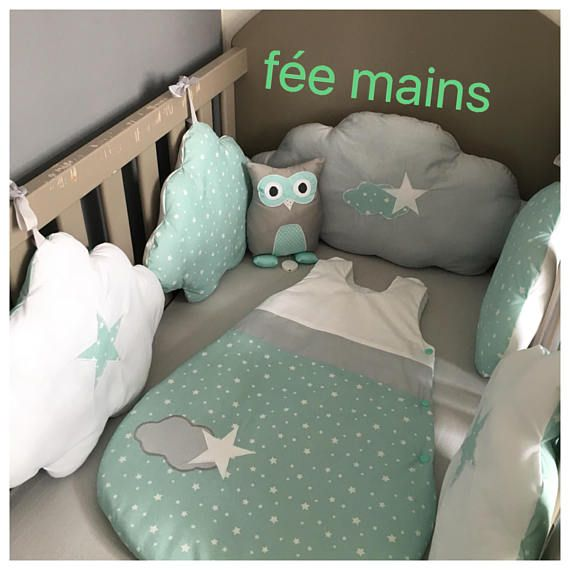 Baby Bumper In The Shape Of Sea Green Grey And White Clouds With