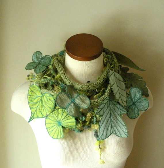 Betsie Withey/TheFaerieMarket - Long and Leafy Scarf - hand knitting, crochet, machine & hand embroidery, felting