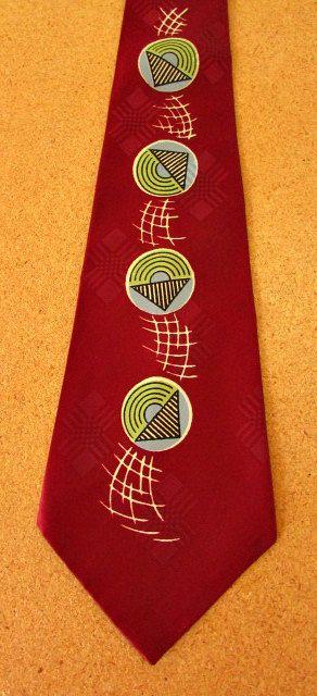 vintage 40s atomic wide silk necktie Wahle's Webster NY seneca cravats  zoot suit necktie  must have
