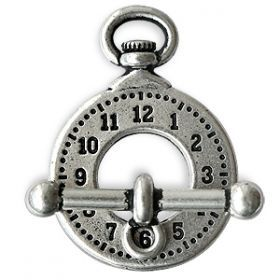 Ring und Stab Verschluss Uhr Antik-Silberfarben 20x29mmm und 25mm (1)