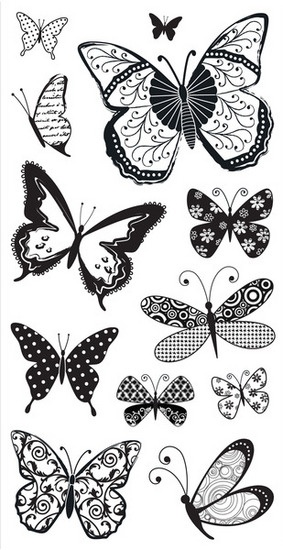 Clear Stamps - Patterned Butterflies SC0397 by Kelly Panacci/Hampton Art