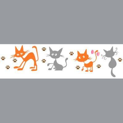 pochoir frise de chats rigolos