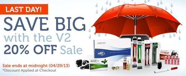 Last day to save up to 45% off with V2 Cigs. They are currently offering 20% Off plus if you use our exclusive coupons you could save up to 25% more, #eCigs, #eCigarettes, #eLiquids, cigarrillos electronicos, cigarros electronicos, cigarrillos electricos, cigarros electricos, cigarrillo electronico, cigarrillo de vapor, electronic cigarette, V2 Cigs, Vapor Couture, #coupon, #Discount, #Sale