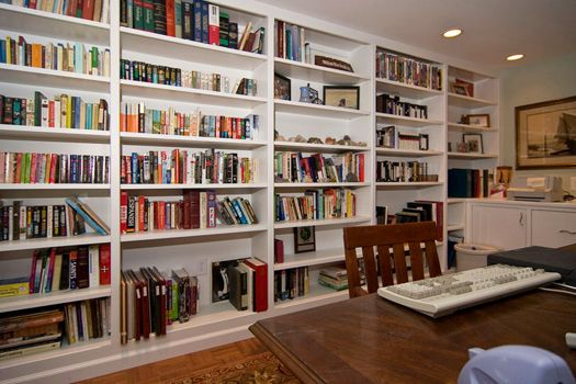 Thought you might like to see what's in mid-project around here. I've always wanted floor-to-ceiling bookcases in my house, and now that I know we've found the house we're staying in for the long haul, it was one of the first things on my wish list.  I'm going to need to shop for …