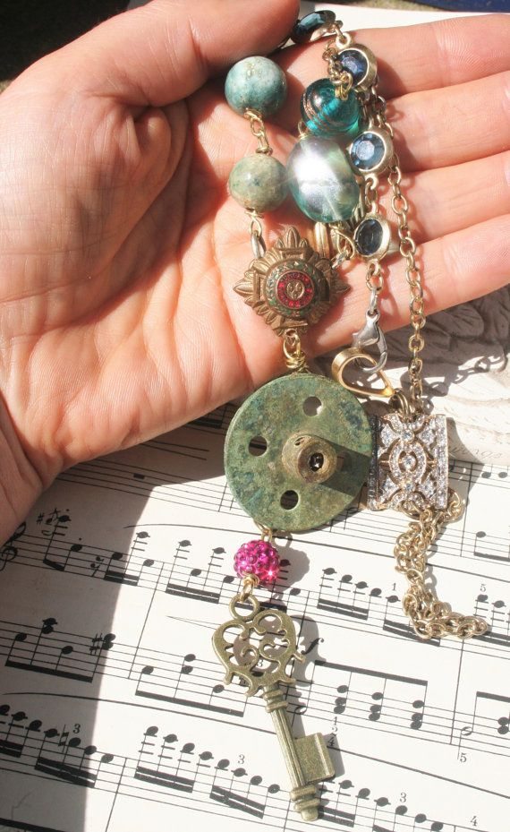 Industrial Assemblage jewelry Upcycled jewelry Repurposed