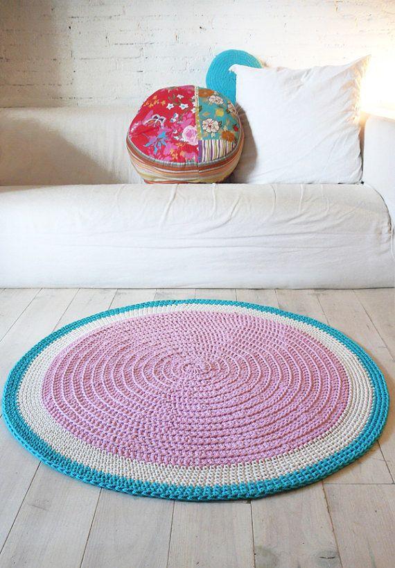 Round Rug floor crochet 100cm por lacasadecoto en Etsy, €85.00