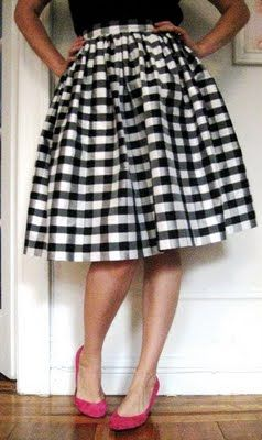 "I love love love this skirt!!! black and white check full skirt. I would also want to use the silk taffeta gingham....   Gertie's New Blog for Better Sewing: ""The Full, Gathered Skirt"""