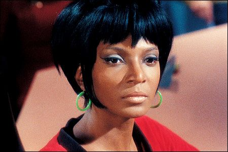 Lieutenant Uhura, played by Nichelle Nichols. Gorgeous woman, and a pioneer character in American Television.