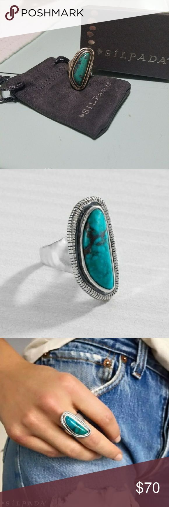 Silpada Turquoise Ripple Ring. Size 7. Authentic Turquoise Silpada Ring. I will ship in box. Size 7. It is beautiful and brand new, never worn! Use that offer button! ⛵⚓ Silpada Jewelry Rings
