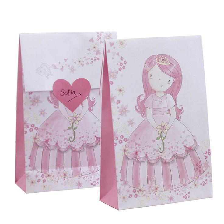 Pink Party Bags & Heart Stickers - Princess Party - Ginger Ray