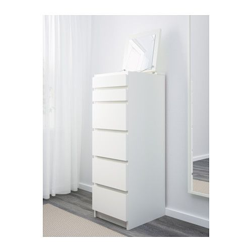 IKEA MALM chest of 6 drawers Built-in mirror. Smooth running drawer with pull-out stop.