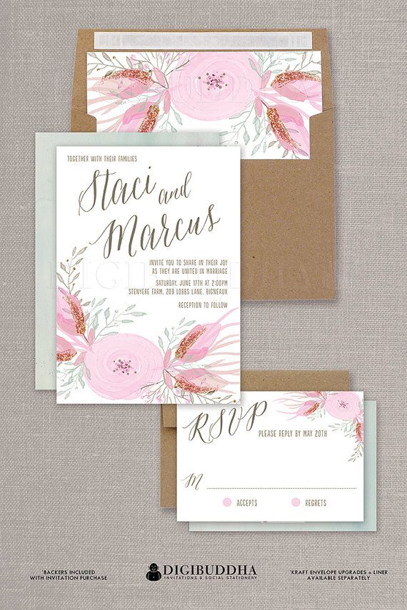 pink watercolor wedding invitation rsvp in blush pink soft romantic mint available at digibuddha - Wedding Invitations With Rsvp Included