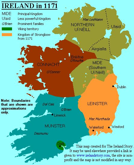 Strongbow landed near-present day Waterford in August 1170 with 1000 men. They attacked and defeated the Viking city of Vadrefjord (Waterford), thereby breaking the treaty with O'Connor. Mac Murchada kept his word to Strongbow and gave him his daughter Aoife as wife, and thereby Strongbow became heir to Leinster's throne. Strongbow's men then went north, attacked and defeated Dublin expelling its Norse leader, Lord MacTorkil, in a boat.