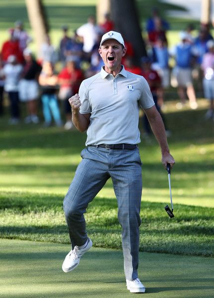 Justin Rose of Europe reacts after a putt on the 13th green during afternoon fourball matches of the 2016 Ryder Cup at Hazeltine National Golf Club on October 1, 2016 in Chaska, Minnesota.