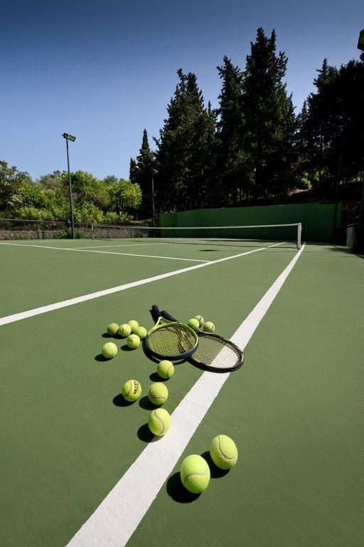 Absolute Waterfront Villa Lightened Tennis Court