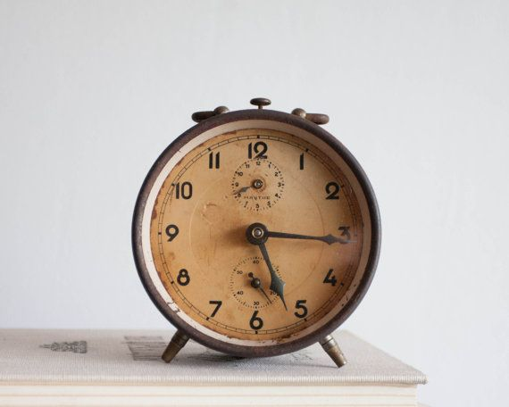 Rustic Alarm Clock Brown Rust Clock Mauthe by TheThingsThatWere
