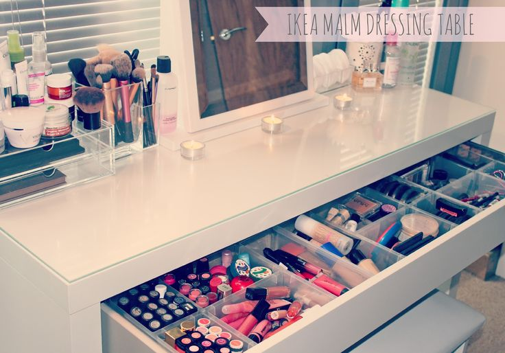 My Makeup Storage and Collection - IKEA Malm Dressing Table great for a cool white bedroom