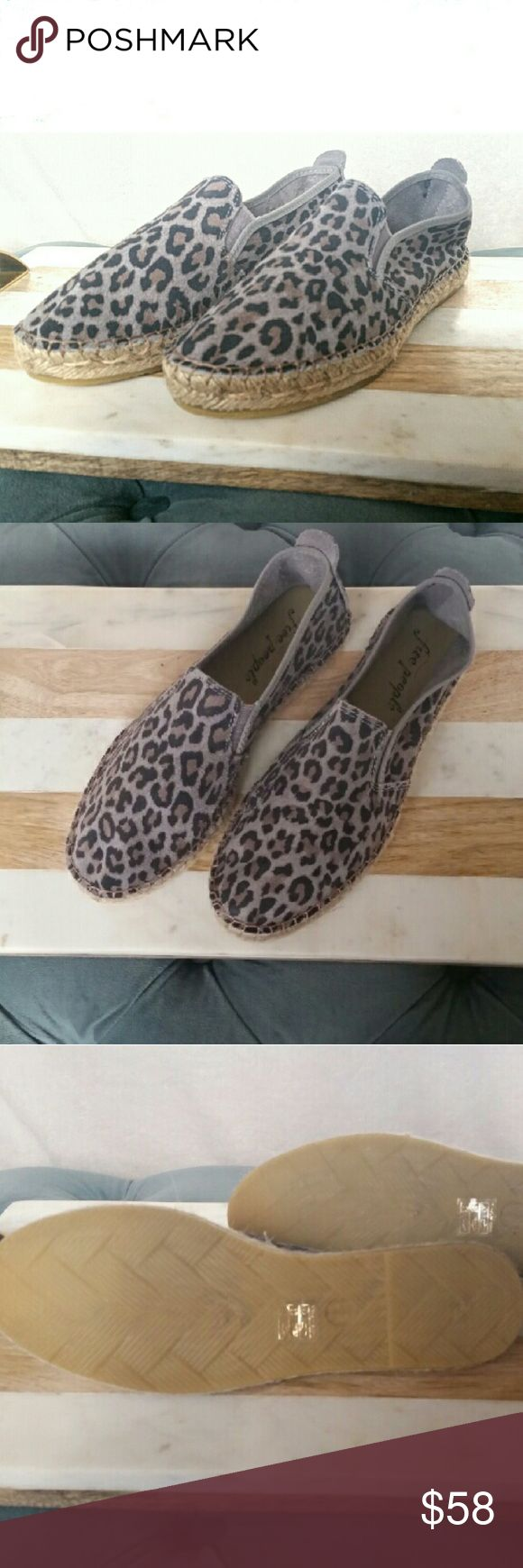 NEW Free People Suede Animal Print Espadrille Shoe New Without Tag or Box Free People Espadrille Suede Leather Animal Print Espadrille Flats in size 38 Runs a little small Free People Shoes Espadrilles
