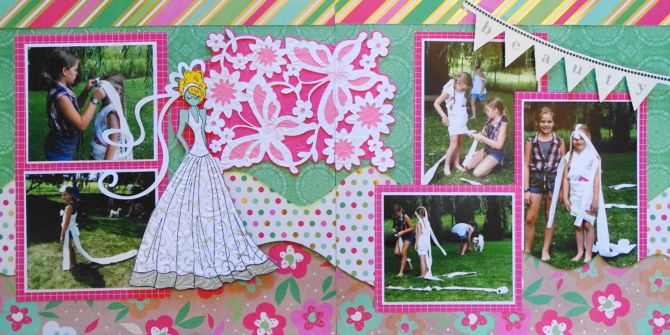 Toilet Paper Brides - This is a girl scrapbook page idea of kids making wedding dresses with toilet paper. I used a pretty butterfly background from Cricut Anna's Lace Cards and a bride Julie Nutting doll. To learn how to make this layout, go to my blog at Everyday Life Scrapbook 37 - Me and My Cricut