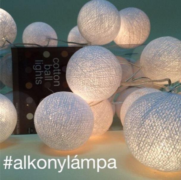 Fehér gömblámpa (cotton ball lights)
