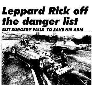 Rick Allen Crash - Def Leppard drummer loses arm in car crash New Year's Eve 1984