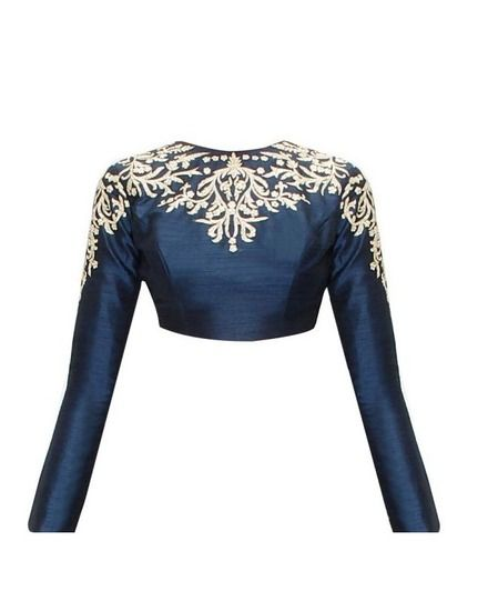 Fabron Blue embroidered designer raw silk long sleeves blouse for women. - Fabron Saree blouse
