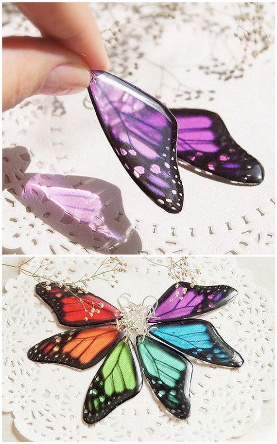 Purple butterfly Earrings  purple Butterfly Wing by YaTomkaStore