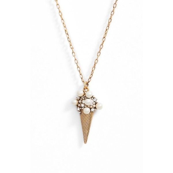 Women's Marc Jacobs Ice Cream Pendant Necklace ($75) ❤ liked on Polyvore featuring jewelry, necklaces, antique gold, chains jewelry, antique gold chain necklace, marc jacobs necklace, anchor pendant necklace and anchor jewelry