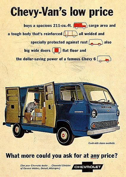 Chevrolet Van   1966, my first tow van with a  Army surplus bunk bolted to the side for driver breaks.
