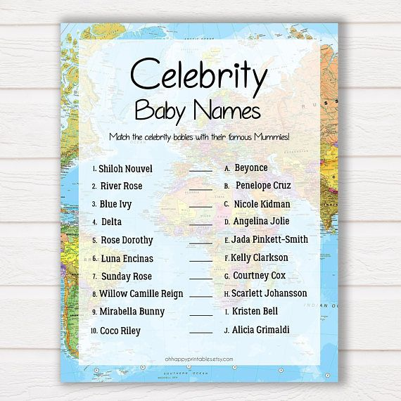 Instant Download Celebrity Baby Names Game Babyshowergames Travelbabyshower Celebrity Baby Names Baby Name Game Celebrity Babies