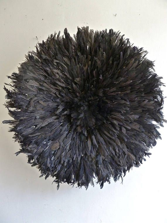 Juju Hat - Bamileke feather headdress - Dyed black -  Diameter : 70cm  Traditional Headdress worn in Cameroon (Bamileke tribe) by the royal dancers during important ceremonies held by the tribal chief.  The feather headdress or juju hat symbolises prosperity and is believed to possess the