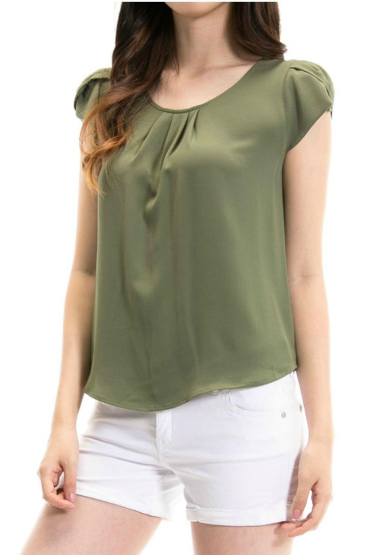 Olive Draped sleeve top Perfect with dress slacks khakis or even jeans.  Draped Sleeve Top by Papermoon Clothing. Clothing - Tops - Short Sleeve Georgia