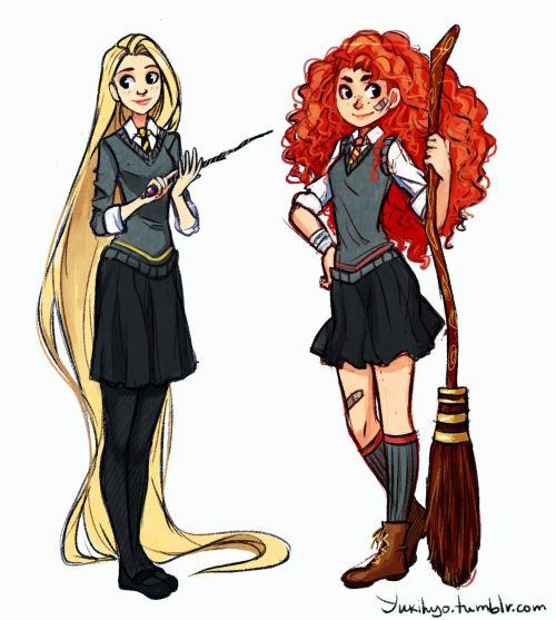 Rotbtd Hogwarts AU | Merida and Rapunzel. Hogwarts AU.