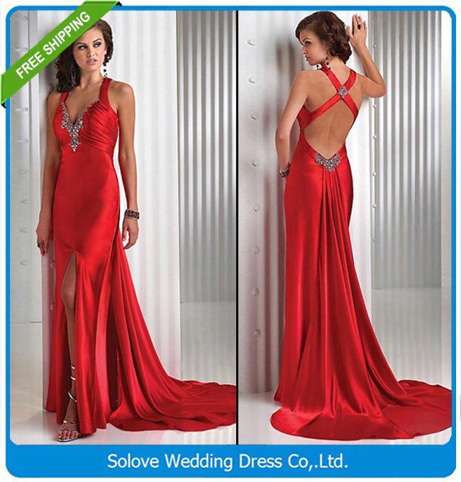 2015 элегантный красный крест-накрест длинное вечернее платье 2015 новый клиент сделал вечернее платье vestido партии ( SLP-028 )