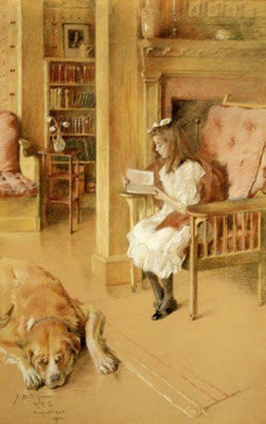 """Cynthia Reading"" -- by Rosina Emmet Sherwood (1854 – 1948)"