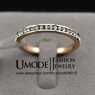 18K Rose Gold Plated Rhinestones Whole Studded Eternity Finger Ring (Umode JR0089A) $4.87