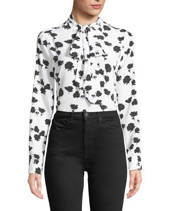 99c9e5073733 Carleen+Tie-Neck+Floral-Print+Silk+Blouse+by+Equipment+at+Bergdorf+Goodman.
