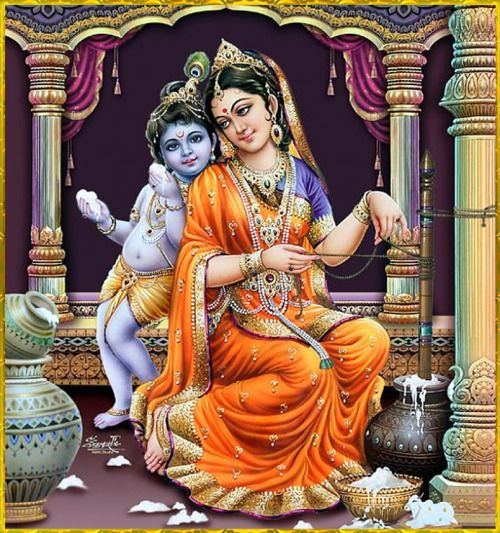 """✨ MAKHAN CHOR KRISHNA ✨ """"O Lord Damodara, in Your form as a baby Mother Yasoda bound You to a grinding stone with a rope for tying cows. You then freed the sons of Kuvera, Manigriva and Nalakuvara, who were cursed to stand as trees and You gave them..."""