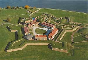 "Fort McHenry, where Francis Scott Key wrote the words to ""The Star Spangled Banner""."