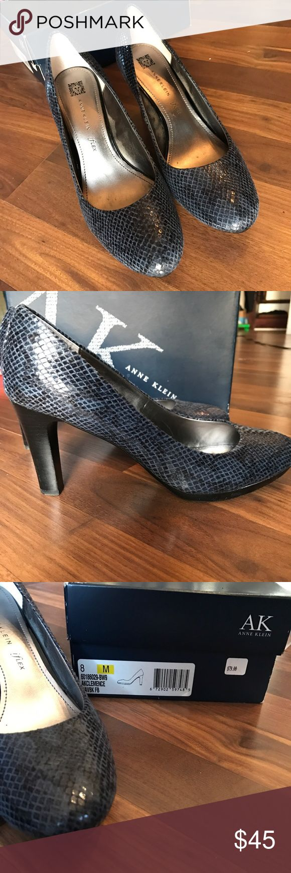 Navy and Black Snake Print Thick High Heel Shoes Navy and Black Snake Print Thick High Heel Shoes. iFlex. Gently worn. Anne Klein Shoes Heels