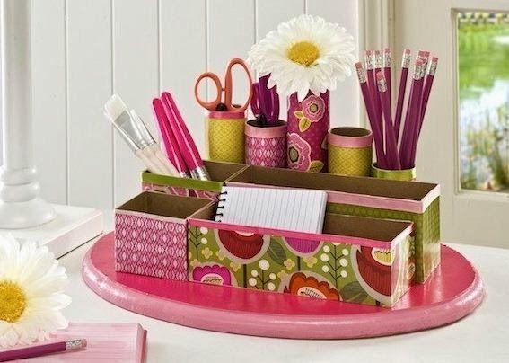Organizador casero paso a paso con cajas de cart n y tubos - Manualidades con cajas ...