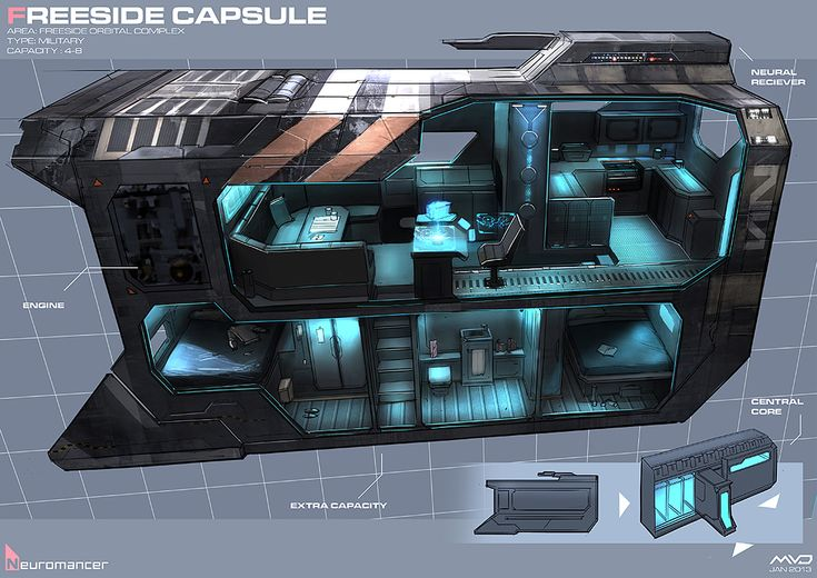 Freeside Capsule, Neuromancer artwork by Marcel van Vuuren Design. http://marcelvanvuurendesign.blogspot.com/