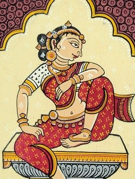 Framed Multicolor Sitting Woman Pattachitra Painting  on Silk 13in x 11in x 0.5in