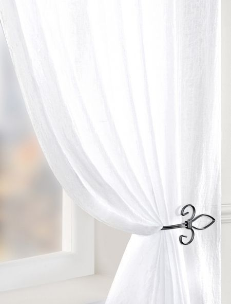 Crushed Double Width Voile Curtain Panel - White