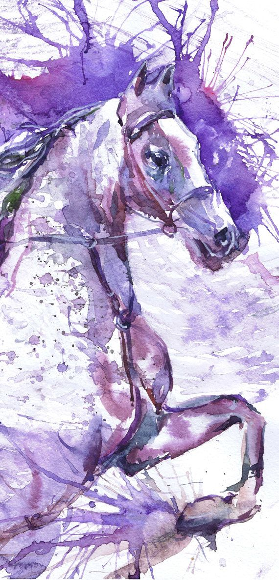 Horse Watercolour Painting Running horse Violet Purple Art, Equine Decor, Equine…