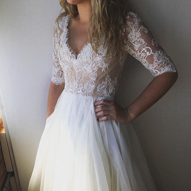 Leanne Marshall wedding gown from Denver Bridal Shop, Emma & Grace Bridal Studio || Lace 3/4 sleeve wedding dress || See more at Emmaandgracebridal.com #LM #LeanneMarshall #bride