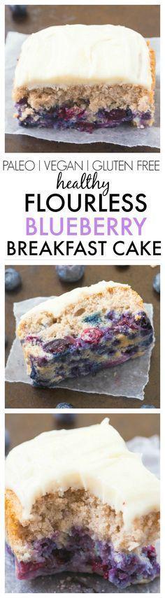 Healthy Flourless Blueberry Breakfast Cake- Light and fluffy on the inside, tender on the outside, have a guilt free dessert for breakfast- NO butter, oil, flour or sugar! {vegan, gluten free, paleo recipe}
